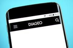 Berdyansk, Ukraine - 3 June 2019: Diageo website homepage. Diageo logo visible on the phone screen, Illustrative Editorial.  royalty free stock photo