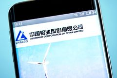Berdyansk, Ukraine - 6 June 2019: Illustrative Editorial of Aluminum Corporation of China Limited website homepage. Aluminum. Corporation of China Limited logo royalty free stock image