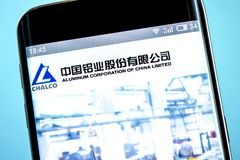 Berdyansk, Ukraine - 6 June 2019: Illustrative Editorial of Aluminum Corporation of China Limited website homepage. Aluminum. Corporation of China Limited logo stock image