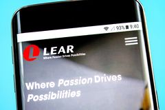 Berdyansk, Ukraine - 1 June 2019: Lear website homepage. Lear logo visible on the phone screen. Berdyansk, Ukraine - 1 June 2019: Lear website homepage. Lear royalty free stock photography
