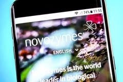 Berdyansk, Ukraine - 4 June 2019: Novozymes website homepage. Novozymes logo visible on the phone screen, Illustrative Editorial.  stock photo