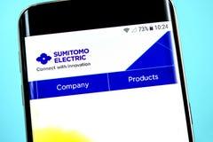 Berdyansk, Ukraine - 1 June 2019: Sumitomo Electric website homepage. Sumitomo Electric logo visible on the phone screen.  royalty free stock photo