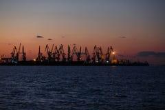 BERDYANSK - UKRAINE, LE 2 SEPTEMBRE 2016 : Silhouette de beaucoup grande de grues dans le port maritime Photographie stock libre de droits