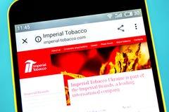 Berdyansk, Ukraine - 10 mai 2019 : Éditorial illustratif de page d'accueil de site Web de groupe d'Imperial Tobacco Imperial Toba photos stock