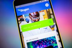 Berdyansk, Ukraine - March 25, 2019: Biogen website homepage. Biogen logo visible on the phone screen, Illustrative. Editorial royalty free stock image