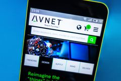 Berdyansk, Ukraine - March 23, 2019: Illustrative Editorial, Avnet website homepage. Avnet logo visible on the phone screen.  stock images