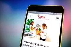 Berdyansk, Ukraine - March 21, 2019: Orkla website homepage. Orkla logo visible on the phone screen, Illustrative Editorial.  stock image