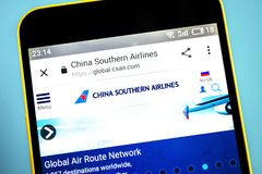 Berdyansk, Ukraine - 26 May 2019: China Southern Airlines website homepage. China Southern Airlines logo visible on the phone. Screen stock image