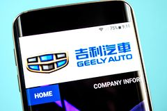 Berdyansk, Ukraine - 30 May 2019: Geely Automobile Holdings website homepage. Geely Automobile Holdings logo visible on the phone. Screen royalty free stock photography