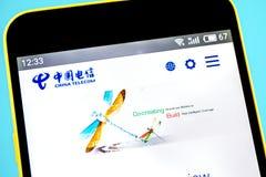 Berdyansk, Ukraine - 14 May 2019: Illustrative Editorial of China Telecom website homepage. China Telecom logo visible on the. Phone screen royalty free stock photos