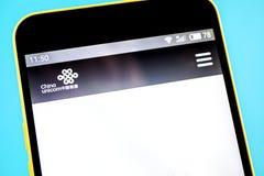 Berdyansk, Ukraine - 14 May 2019: Illustrative Editorial of China Unicom website homepage. China Unicom logo visible on the phone. Screen royalty free stock image