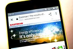 Berdyansk, Ukraine - 5 May 2019: Illustrative Editorial of Eastman Chemical website homepage. Eastman Chemical logo visible on the. Phone screen stock photography