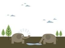 Bere degli elefanti Fotografia Stock Libera da Diritti