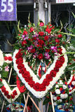 Bereavement. Heart shaped floral arrangement prepared for a funeral Stock Images