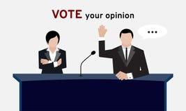 Berechtigte Leute in der Klagenhand herauf Unkosten und in der Armfalte für Wahl- und Handabstimmung im Konferenzsaal oder in der vektor abbildung