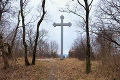 BEREGOVOE,加里宁格勒州,俄罗斯- 2017年3月30日:在圣布拉格Adalbert的殉教地方的纪念十字架  免版税库存图片
