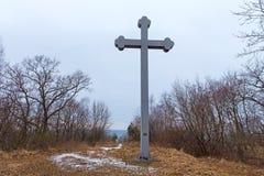 BEREGOVOE,加里宁格勒州,俄罗斯- 2017年3月30日:在圣布拉格Adalbert的殉教地方的纪念十字架  免版税库存照片