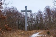 BEREGOVOE,加里宁格勒州,俄罗斯- 2017年3月30日:在圣布拉格Adalbert的殉教地方的纪念十字架  库存照片