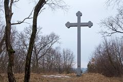 BEREGOVOE, RUSSIA - MARCH 30, 2017: Memorial cross on the place of the alleged martyrdom of the Saint Adalbert of Prague. stock photo