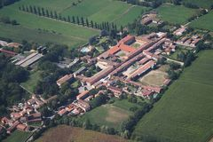 Bereguardo - Cascina Zelata. Aerial view of a farm located near Bereguardo Royalty Free Stock Images