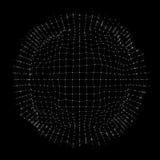 Bereich 3D, Ränder und Punkte Bereich-Illustration Rastergestaltung 3D in der Technologie-Art Abstraktes Kugel-Gitter netze Stockbild
