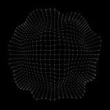 Bereich 3D, Ränder und Punkte Bereich-Illustration Rastergestaltung 3D in der Technologie-Art Abstraktes Kugel-Gitter netze Stockfoto