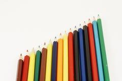Bereich der Bleistifte in Folge Stockfoto