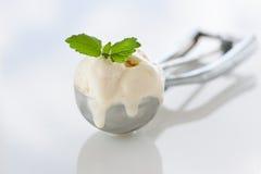 Bereich des selbst gemachten Vanilleeises in einem Metalllöffel Lizenzfreies Stockfoto