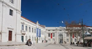 Bereich Largo Trindade Coelho, Lissabon, Portug Lizenzfreie Stockbilder
