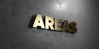 Bereiche - Goldzeichen angebracht an der glatten Marmorwand - 3D übertrugen freie Illustration der Abgabe auf Lager lizenzfreie abbildung