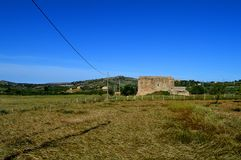 Bereichs-Ansicht einer typischen sizilianischen Landschaft, Mazzarino, Caltanissetta, Italien, Europa Stockbild