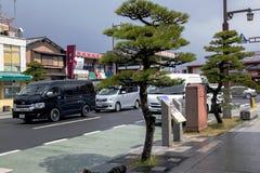 Bereichsansicht über die moderne Iwakuni-Stadt Lizenzfreie Stockfotos