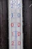 Bereifter Thermometer Stockbild