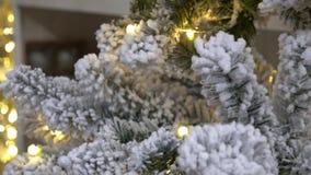 Bereifter Weihnachtsbaum Dekorativer Weihnachtshintergrund stock footage