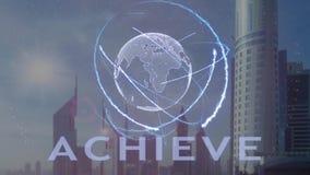 Bereik tekst met 3d hologram van de aarde tegen de achtergrond van de moderne metropool stock illustratie