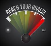 Bereik uw doelstellingen snelheidsmeterillustratie Stock Fotografie