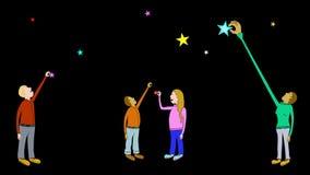 Bereik voor geitje-Transparante ster-Vier stock video