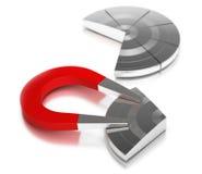 Bereikend marktaandeel, cirkeldiagram hoefijzermagneet Stock Foto