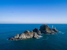 Bereisen Sie berühmte Oryukdo-kleine Inseln, Busan, Südkorea Lizenzfreie Stockfotos