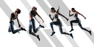 Bereite stabile gehen! Konzept von Betriebsfestigkeitsausdauer im Sport Des in voller Länge schönes sportliches Porträts der natü stockfoto