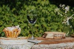 Bereite Tabelle vor dem Sommerfest im Garten lizenzfreies stockbild
