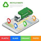 bereiten Sie überschüssiges Konzept auf Abfallbeseitigung mit gps-Navigation auf Stadt Sortieren des Abfalls Ökologie und bereite lizenzfreie abbildung