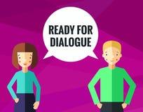 Bereiten Sie für Dialoghintergrund und -karte mit junger Frau des Brunette und blondem jungem Mann vor lizenzfreie abbildung