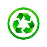 Bereiten Sie grüne Ikone auf Symbol der runden Form, eco grüne Farbe, 3d Art, weißer Hintergrund Stockfoto