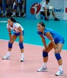 Bereiten Sie vor, um zu empfangen, italienisches Volleyballteam Lizenzfreie Stockfotos