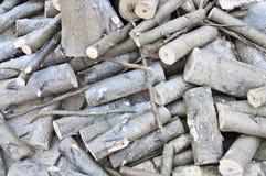 Bereites Brennholz liegt aus den Grund stockfotografie