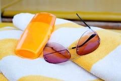 Bereitschaft für einen Strandurlaub Stockfotos