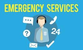 Bereitschaftsdienst-Dringlichkeits-Hilfslinien-Sorgfalt-Servicekonzept stock abbildung