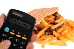 Berekening van de calorieën van een kebab stock afbeeldingen