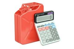 Berekening van het concept van de kostenbrandstof Jerrycan met calculator, 3D r Royalty-vrije Stock Afbeeldingen